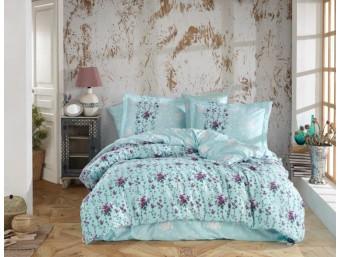 Lenjerie de pat dublu din Bumbac 100% Poplin Claudia Turquoise