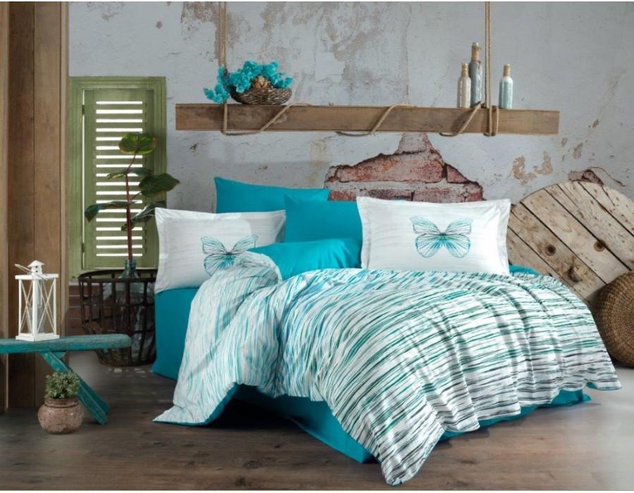 Lenjerie de pat dublu din Bumbac 100% Poplin Eldora Turquoise