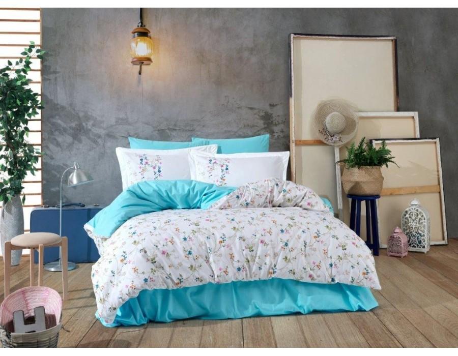Lenjerie de pat dublu din Bumbac 100% Poplin Orient Turquoise