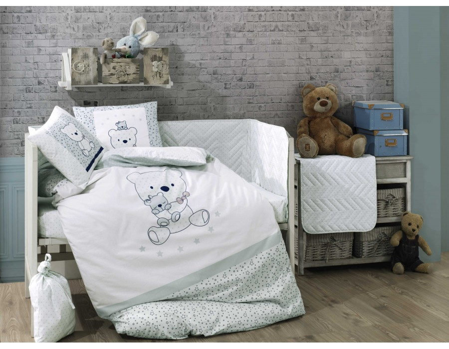 Lenjerie de pat copii / bebe Bumbac 100% Bonita Mint