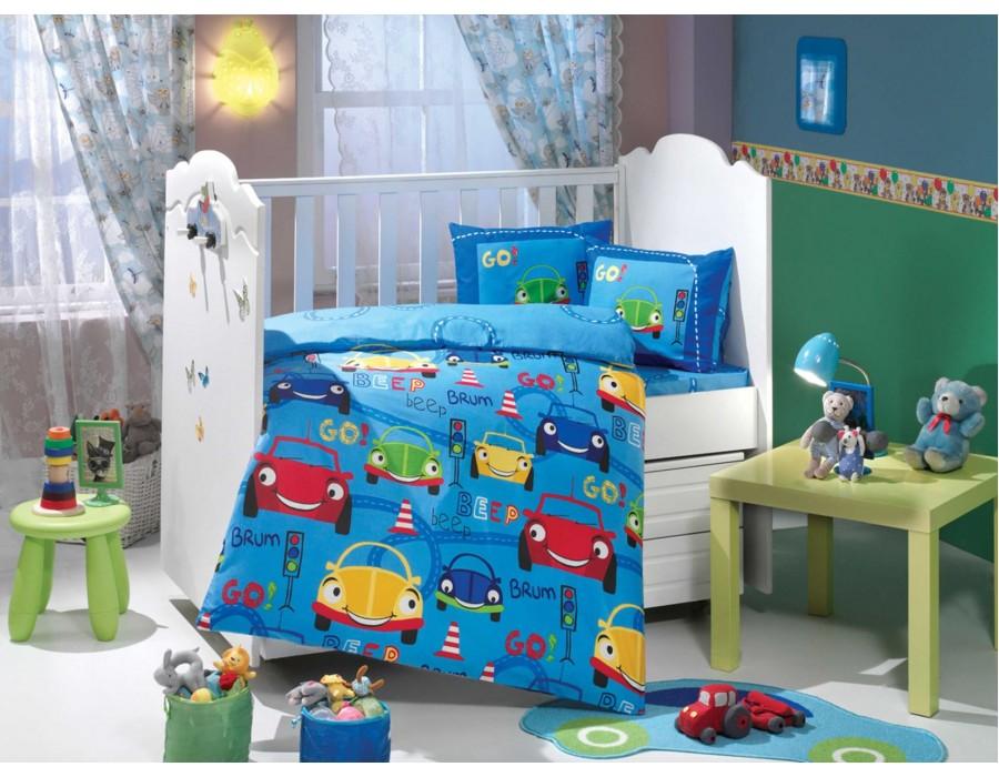 Lenjerie de pat copii Bumbac 100% Cars Blue