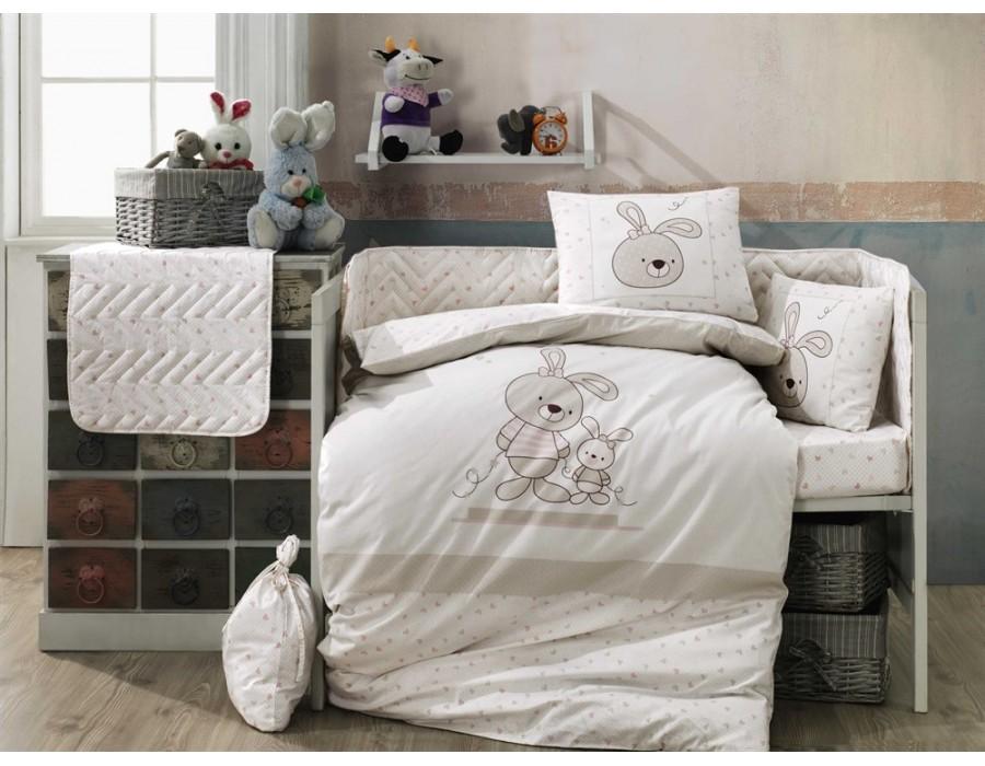 Lenjerie de pat copii / bebe Bumbac 100% Elina Beige