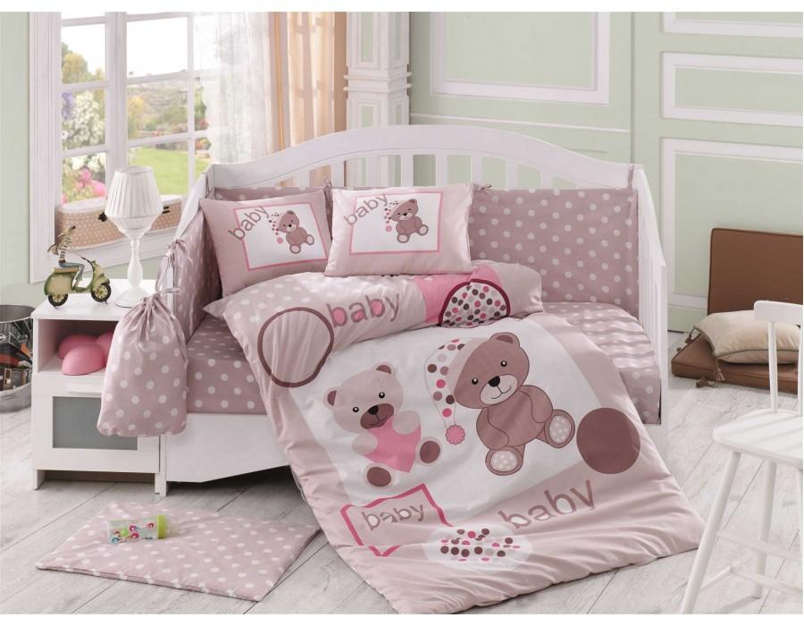 Lenjerie de pat copii Bumbac 100% Ponpon Beige