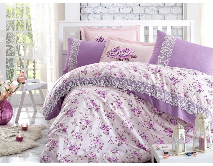 Lenjerie de pat dublu din Bumbac 100% Poplin cu dantela Flora Lilac