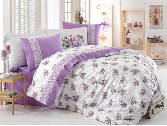Lenjerie de pat dublu din Bumbac 100% Poplin cu dantela Paris Spring Lilac