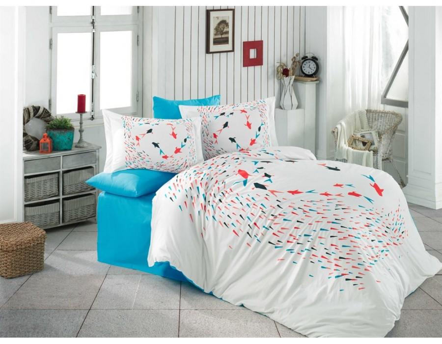 Lenjerie de pat dublu din Bumbac 100% Poplin Delfina Turquoise