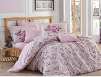 Lenjerie de pat dublu din Bumbac 100% Poplin Flora Lilac