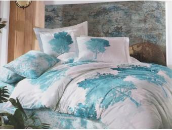 Lenjerie de pat dublu din Bumbac 100% Poplin July Blue
