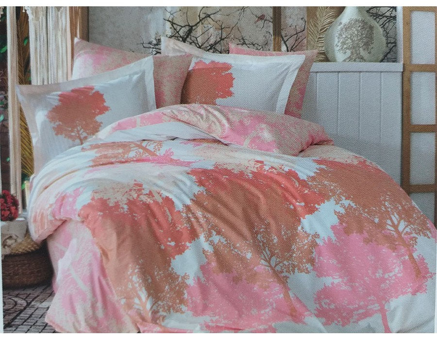 Lenjerie de pat dublu din Bumbac 100% Poplin July Pink