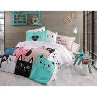Lenjerie de pat dublu din Bumbac 100% Poplin Love Cats Pink