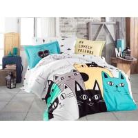 Lenjerie de pat dublu din Bumbac 100% Poplin Love Cats Yellow