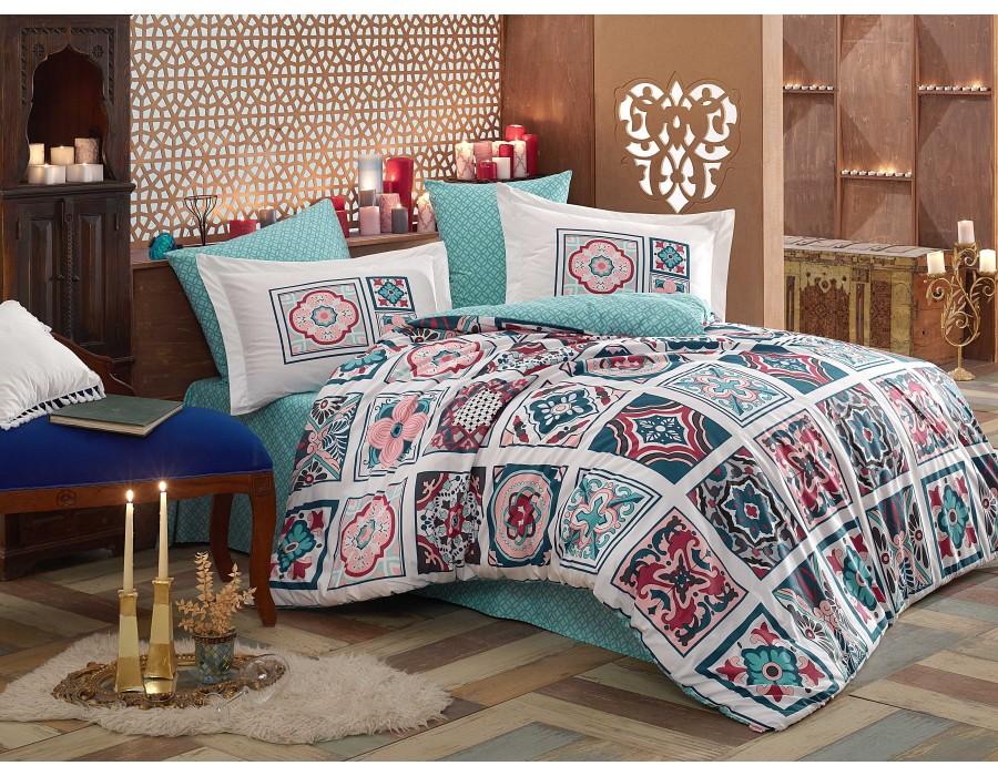 Lenjerie de pat dublu din Bumbac 100% Poplin Mozaique Blue