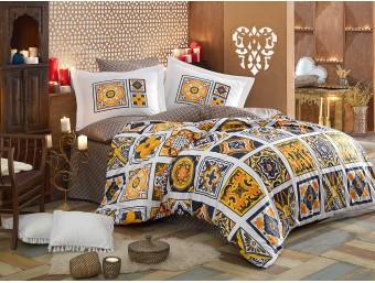 Lenjerie de pat dublu din Bumbac 100% Poplin Mozaique Yellow