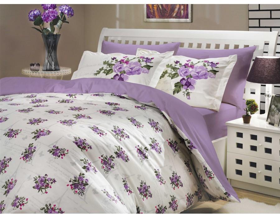 Lenjerie de pat dublu din Bumbac 100% Poplin Paris Spring Lilac