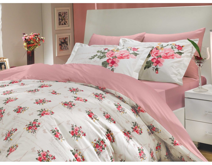 Lenjerie de pat dublu din Bumbac 100% Poplin Paris Spring Pink