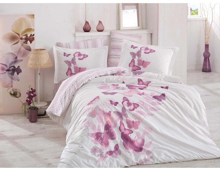 Lenjerie de pat dublu din Bumbac 100% Poplin Sueno Lilac