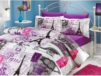 Lenjerie de pat dublu din Bumbac 100% Poplin Vicenta Lilac