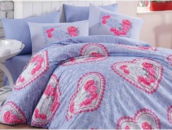 Lenjerie de pat dublu din Bumbac 100% Ranforce Lovely Lilac