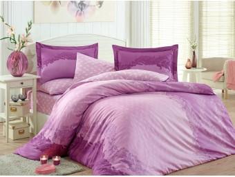 Lenjerie de pat dublu din Bumbac 100% Satinat Filomena Purple