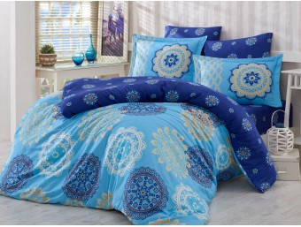 Lenjerie de pat dublu din Bumbac 100% Satinat Ottoman Blue