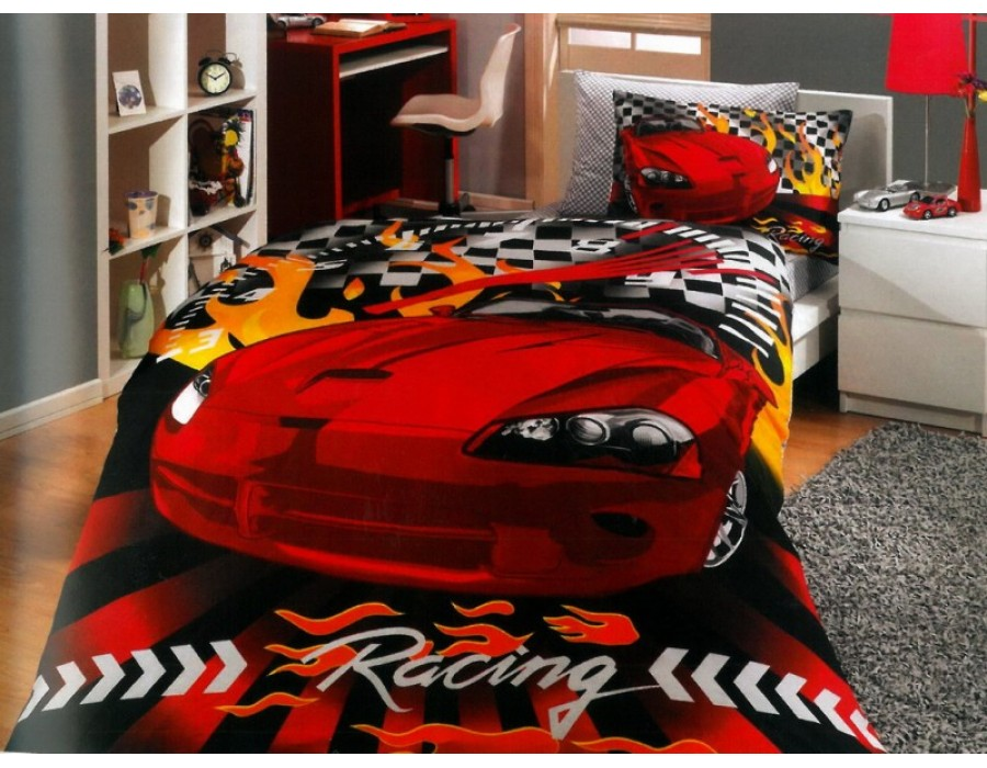 Lenjerie de pat o Persoana Bumbac 100% Poplin Car Racing Red