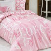 Lenjerie de pat o Persoana Bumbac 100% Poplin Love Pink