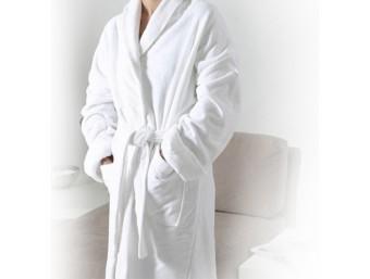 Halat baie bumbac 100% barbati/femei Alb Velour cu guler