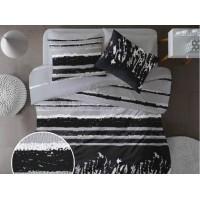 Lenjerie de pat pentru doua persoane din Bumbac 100% Creponat Grunge V2 - 4 piese XXL