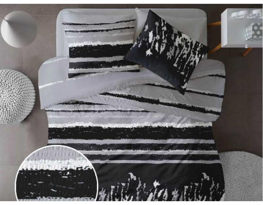 Lenjerie de pat pentru doua persoane din Bumbac 100% Creponat Grunge V2 - 4 piese