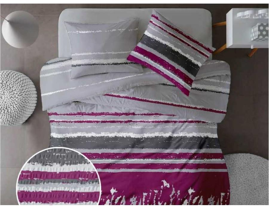 Lenjerie de pat pentru doua persoane din Bumbac 100% Creponat Grunge V3 - 4 piese