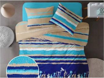 Lenjerie de pat pentru doua persoane din Bumbac 100% Creponat Grunge V4 - 4 piese XXL
