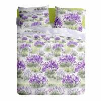 Lenjerie de pat pentru doua persoane din Bumbac 100% Creponat Lavender - 4 piese