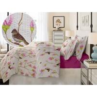 Lenjerie de pat dublu din Bumbac 100% Creponat Magnolia Birds V1