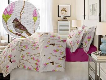 Lenjerie de pat dublu din Bumbac 100% Creponat Magnolia Birds V1 – XXL