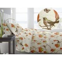 Lenjerie de pat dublu din Bumbac 100% Creponat Magnolia Birds V2 - XXL