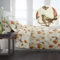 Lenjerie de pat dublu din Bumbac 100% Creponat Magnolia Birds V2 – XXL