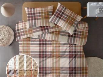 Lenjerie de pat pentru doua persoane din Bumbac 100% Creponat Plaid V1 - 4 piese