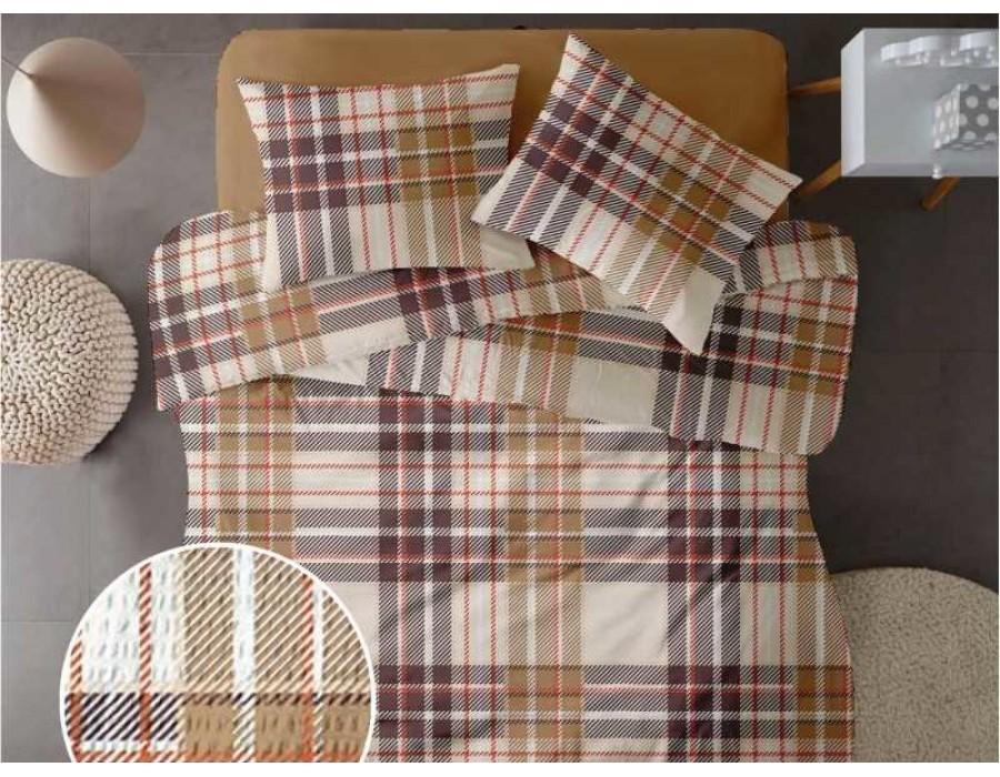 Lenjerie de pat pentru doua persoane din Bumbac 100% Creponat Plaid V1 - 4 piese XXL
