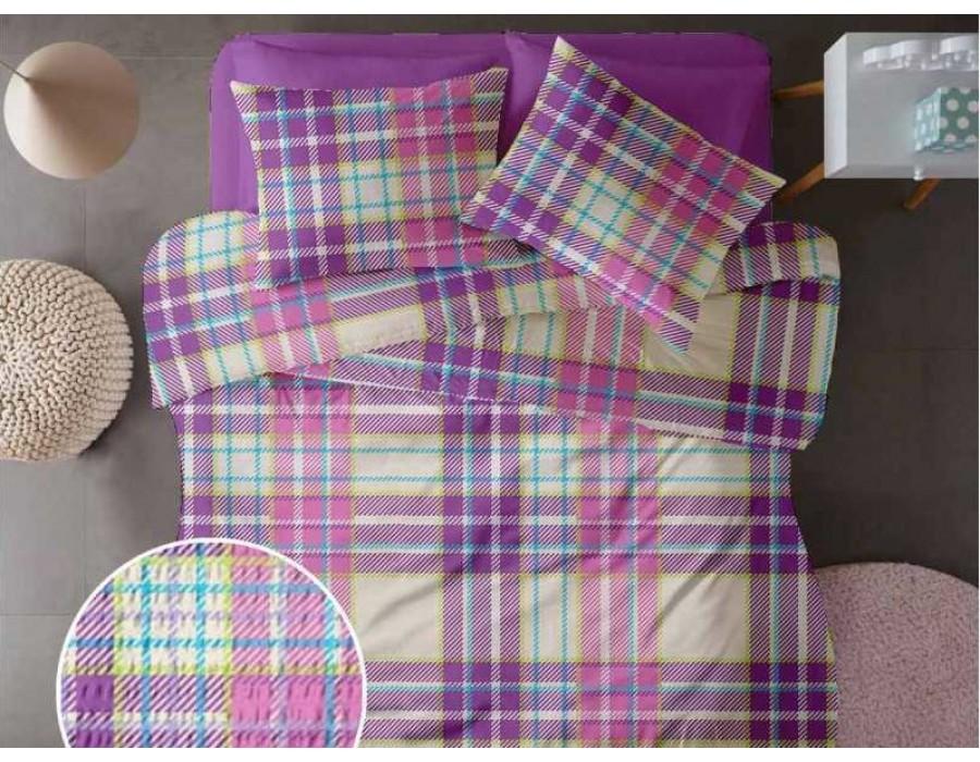 Lenjerie de pat pentru doua persoane din Bumbac 100% Creponat Plaid V2 - 4 piese XXL