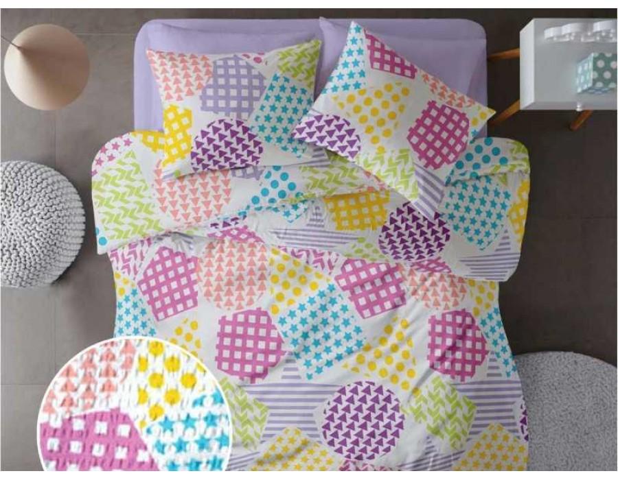 Lenjerie de pat pentru doua persoane din Bumbac 100% Creponat Playground V1 - 4 piese