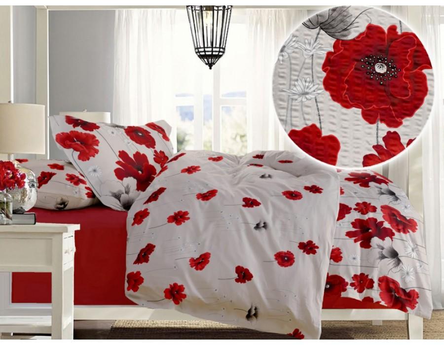 Lenjerie de pat dublu din Bumbac 100% Creponat Poppy Field – XXL