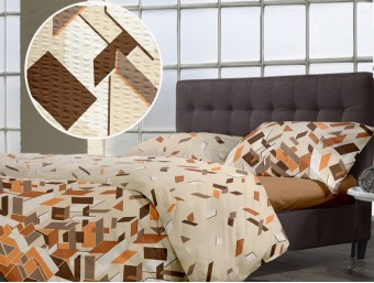 Lenjerie de pat dublu din Bumbac 100% Creponat Puzzle V3 - XXL