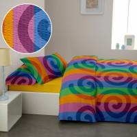 Lenjerie de pat dublu din Bumbac 100% Creponat Rainbow