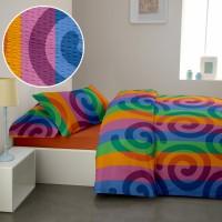 Lenjerie de pat dublu din Bumbac 100% Creponat Rainbow - XXL