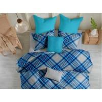 Lenjerie de pat pentru doua persoane din Bumbac 100% Creponat Scottish V5 - 4 piese XXL