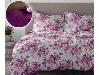 Lenjerie de pat dublu din Bumbac 100% Creponat Romance V1 - XXL Roz Fuchsia Red