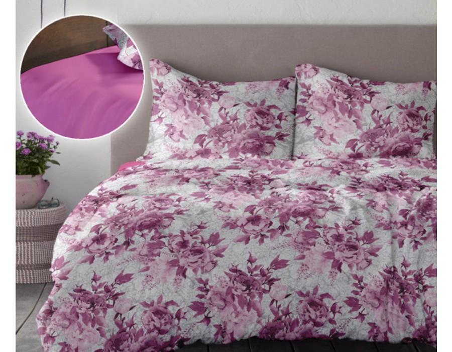 Lenjerie de pat dublu din Bumbac 100% Creponat Romance V1 - XXL - Roz Rosebloom
