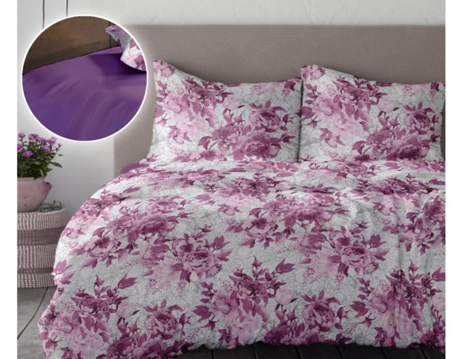Lenjerie de pat dublu din Bumbac 100% Creponat Romance V1 - Mov Iris Orchid
