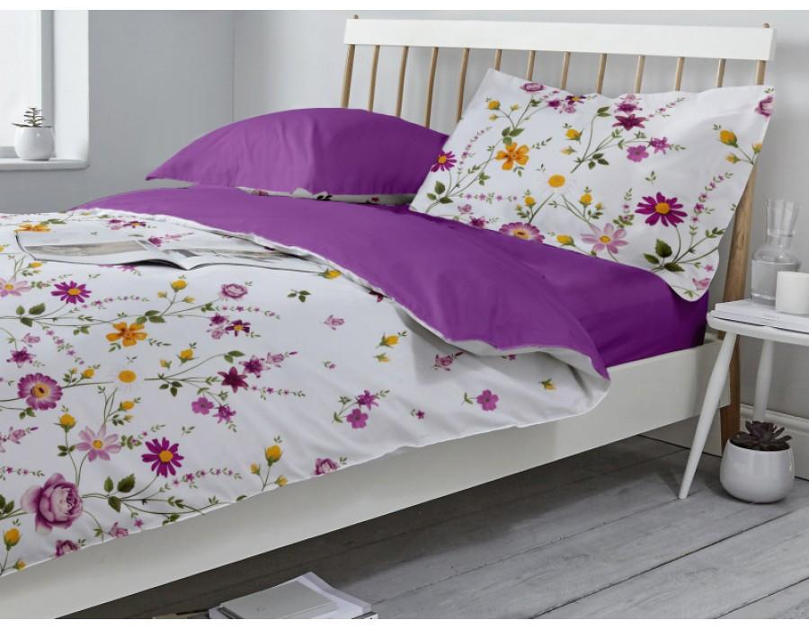 Lenjerie de pat dublu din Bumbac 100% Ranforce Gardenia 02 – Fata Reversibila