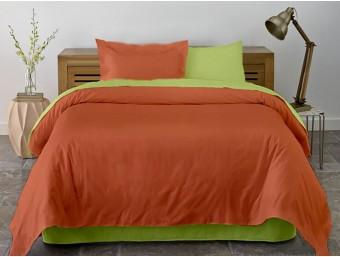 Lenjerie de pat dublu din Bumbac 100% Ranforce Lime & Pumpkin XXL